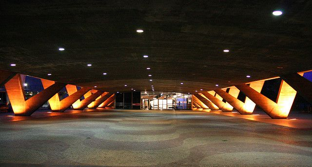 The space underneath the Museum of Modern Art is popular for public gatherings and events