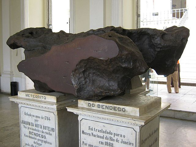 Bendegó-meteorite on display in the National Museum of Brazil