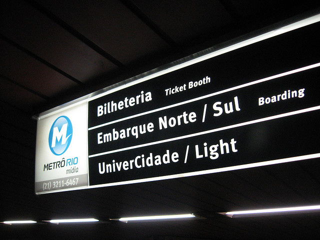 Signage on the Rio Metro system
