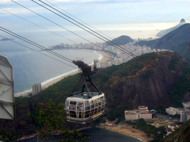 Cable car arriving at the top of Sugarloaf