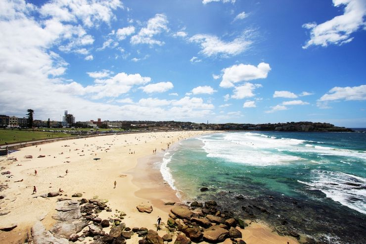 The beautiful white sands and turquoise waters of Bondi Beach in Sydney