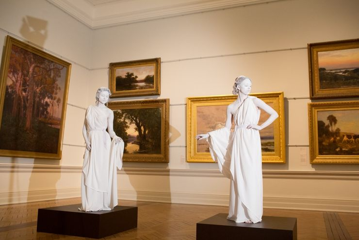 Classic paintings are overshadowed by live human statues during this exhibit at the Art Gallery NSW