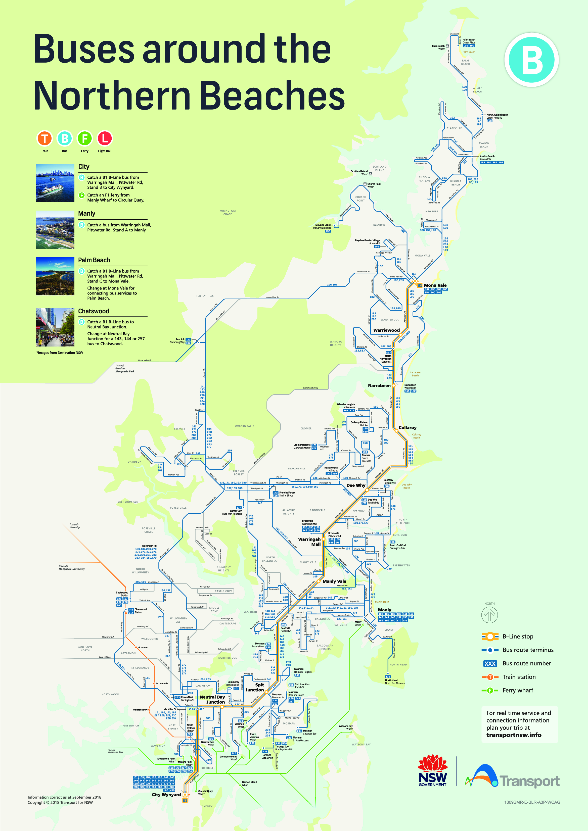 Map of Sydney Buses around the Northern Beaches