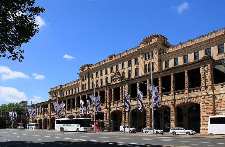 Sandstone facade of Central Railway Station in Sydney
