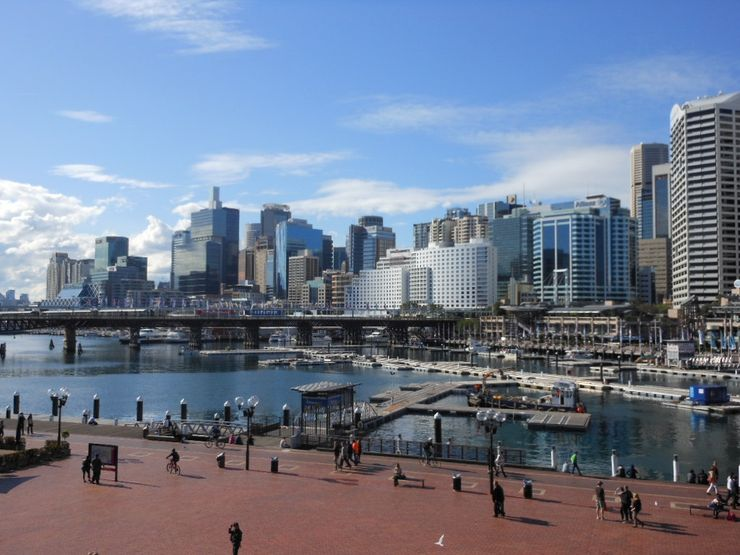 Looking east across Darling Harbour towards the Central Business District