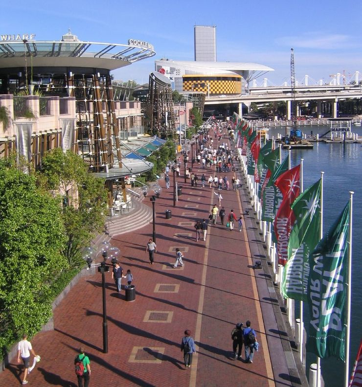 People out enjoying the pedestrian friendly Darling Harbour