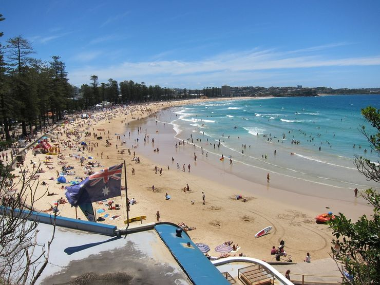 Golden sands of Manly Beach as seen from the opposite direction