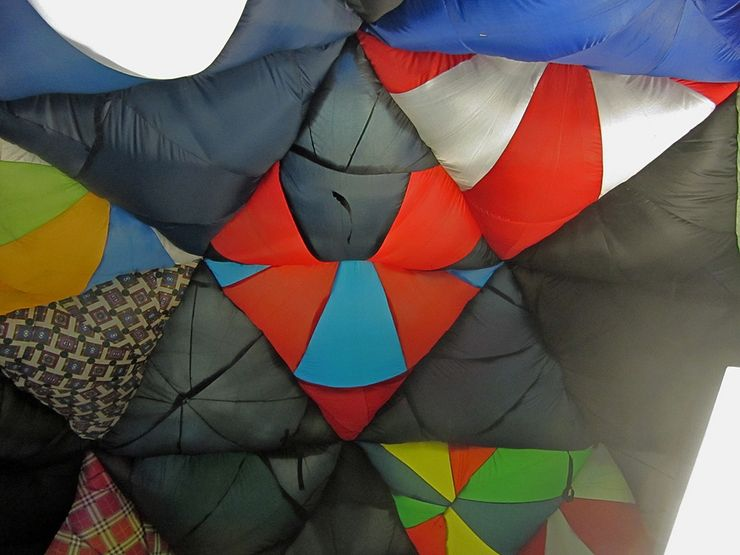 A colorful piece created from inflating a structure made of textiles