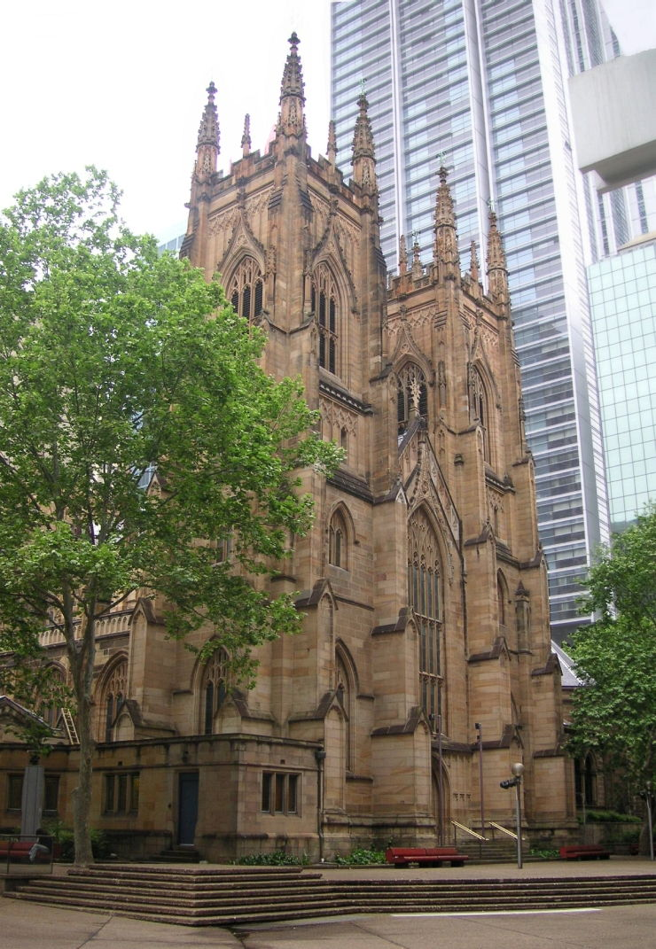 Gothic Revival Architecture of St. Andrew's Cathedral contrasted starkly with the modern surroundings