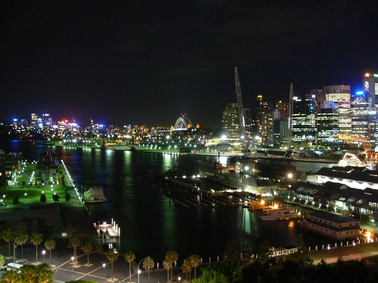 The lights of Sydney at night as seen from The Star
