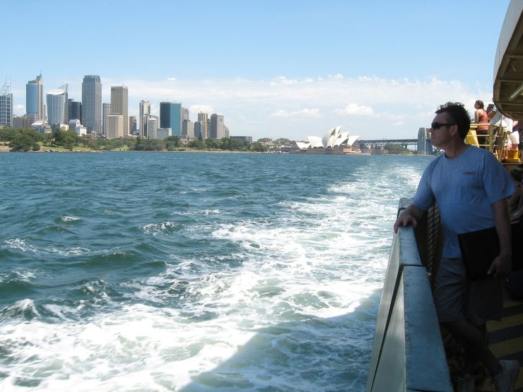 Enjoying the view from a Sydney Ferry on the way to Manly from Circular Quay