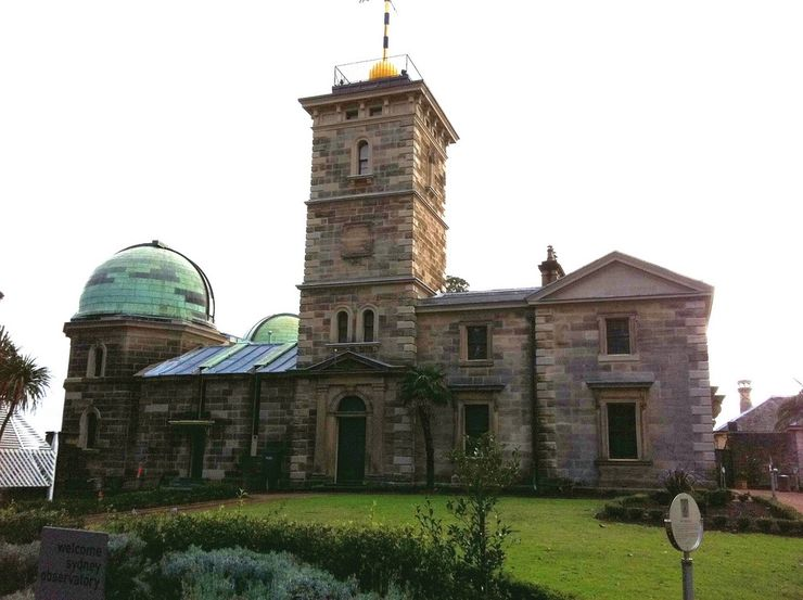 Sydney Observatory showing the time ball tower and the observatory towers