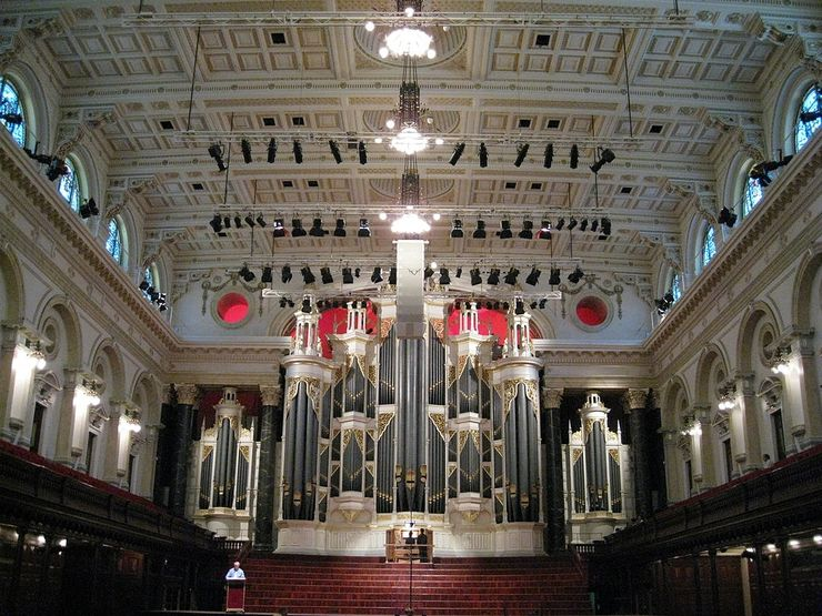 Interior of Centennial Hall inside the Sydney Town Hall with the Grand Organ along the far wal