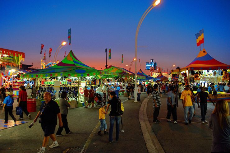 Nightfall settles in on the Midway at the CNE