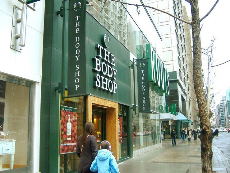 Body Shop and Roots Store on Yonge Street