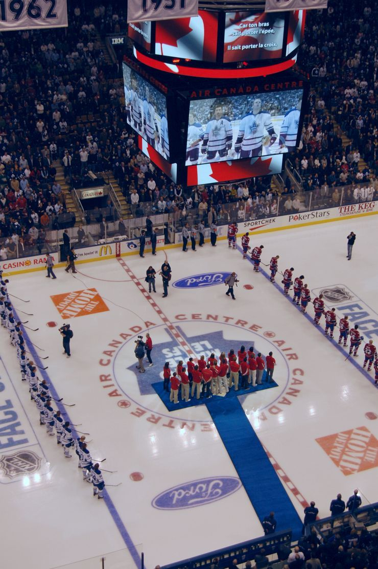 The Toronto Maple Leafs get ready to play at the Scotia Bank Arena