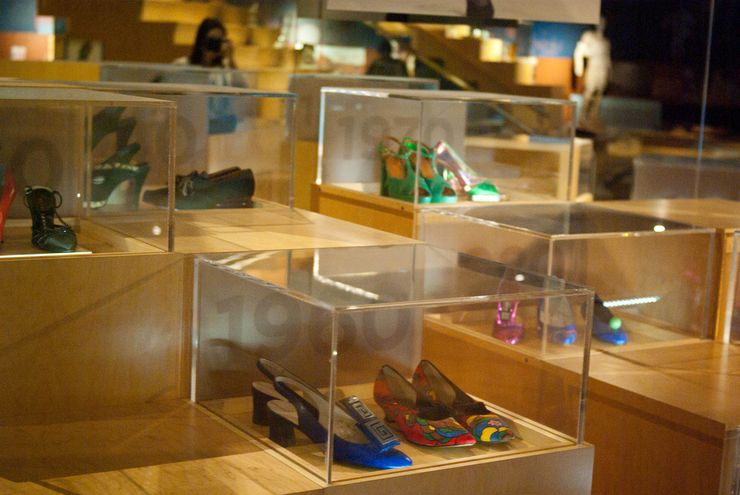 Colourful shoes on display at the Bata Shoe Museum