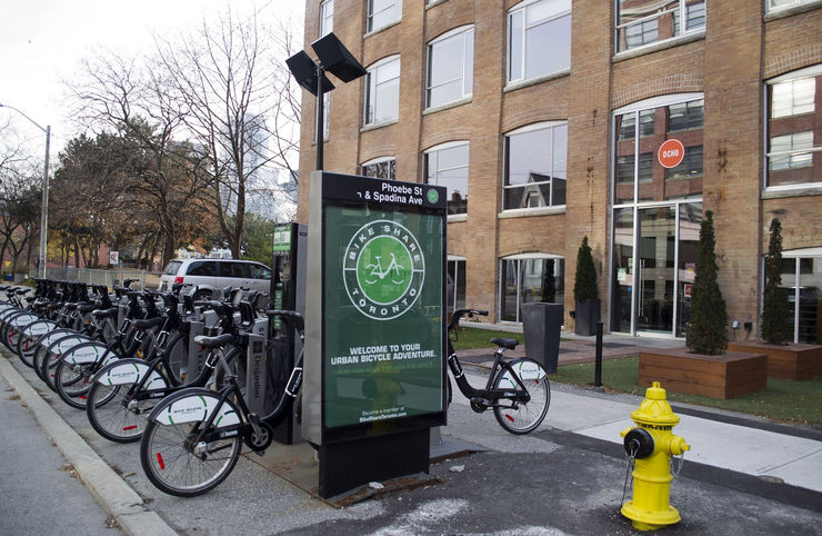 Toronto Bike Share Station in front of Hotel Ocho