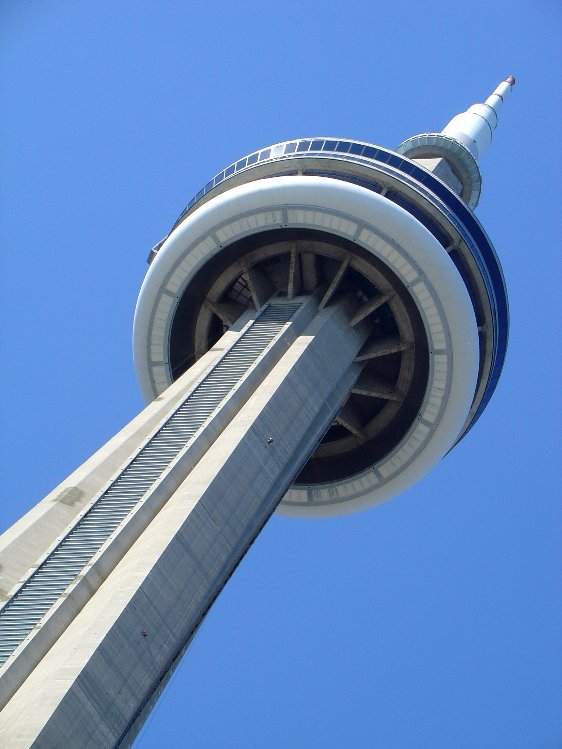 Looking up at the CN Tower near the start of our tour