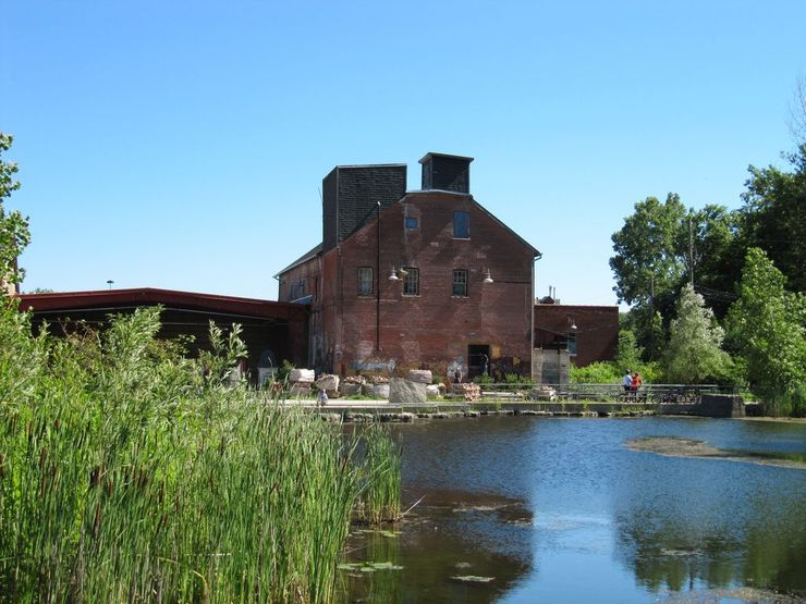 Ponds paths and historic buildings at Don Valley Brickworks Park