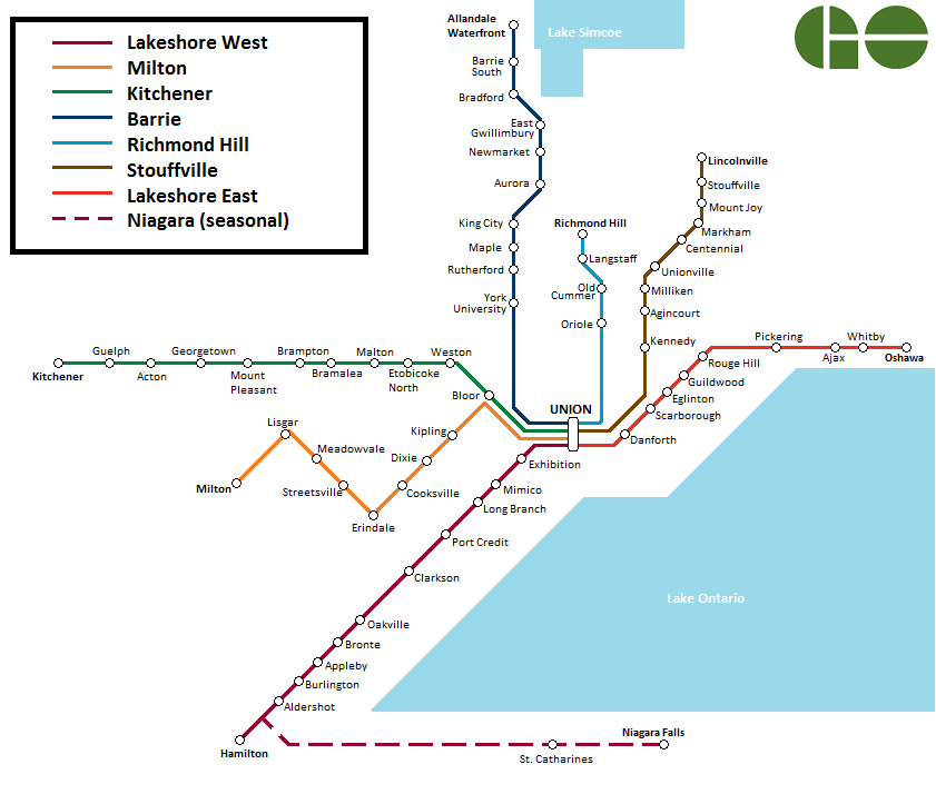 Toronto Go Train Route Map