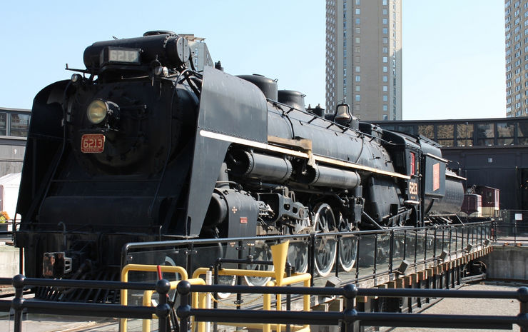 Painstakingly Restored CN 6213 Steam Locomotive in Roundhouse Park