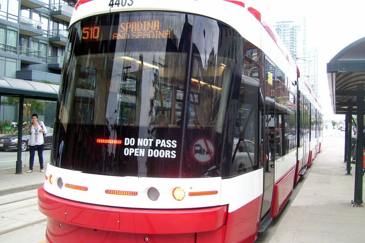 Close up view of the new TTC Flexicity Streetcar