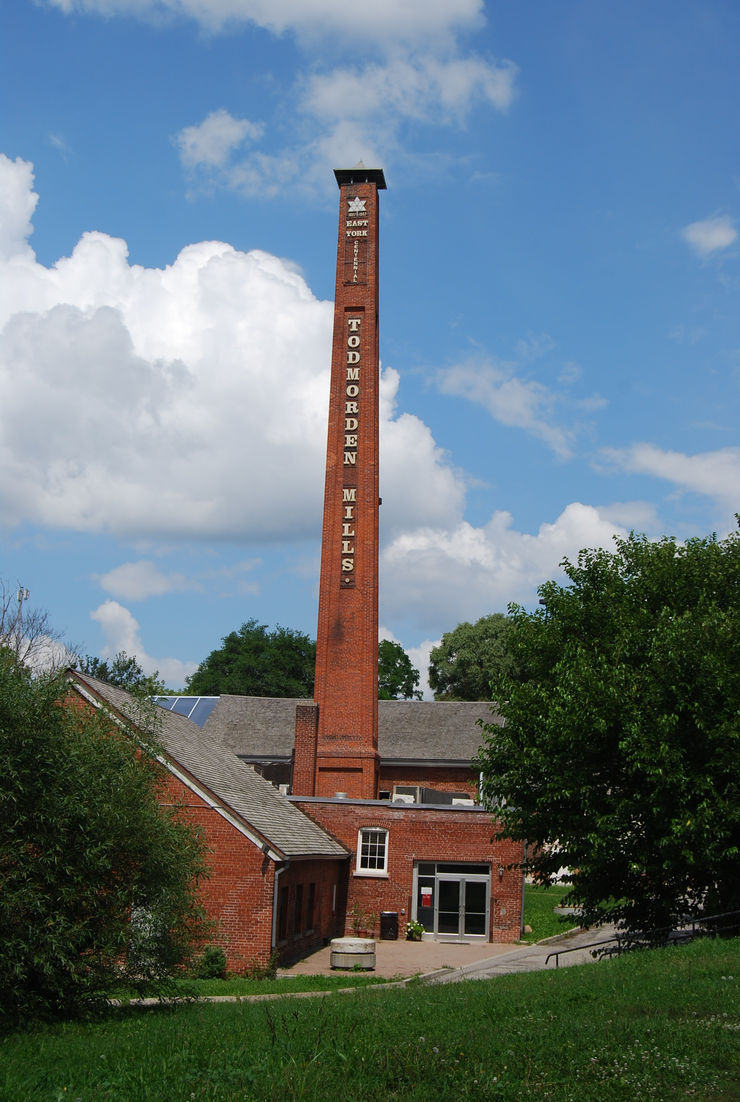 The historic paper mill and landmark chimney at the Todmorden Heritage Site in Toronto