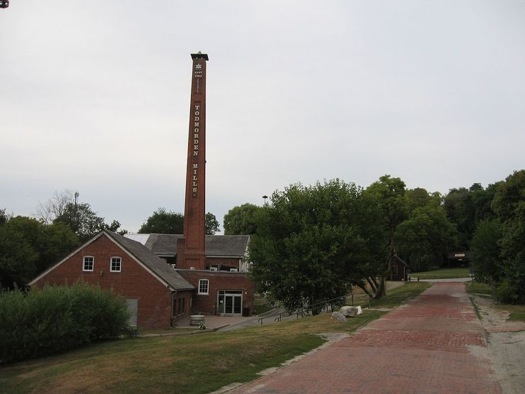 Another view of the old paper mill showing the red brick path