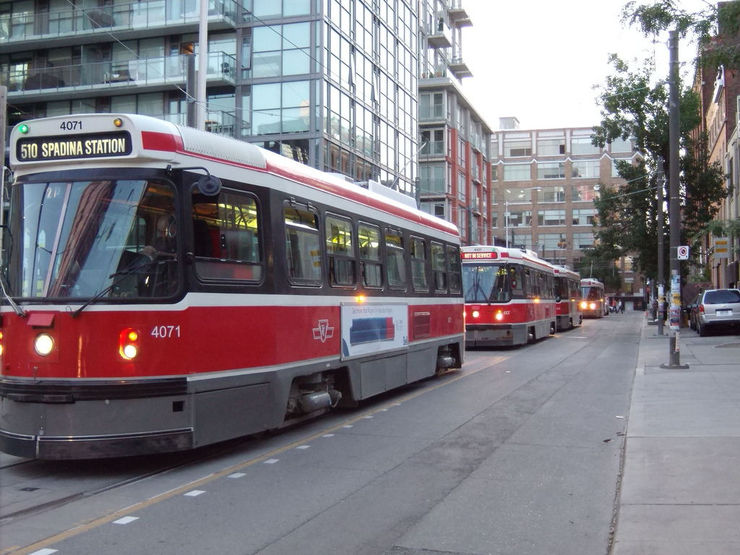 Streetcars queued up for service on Spadina