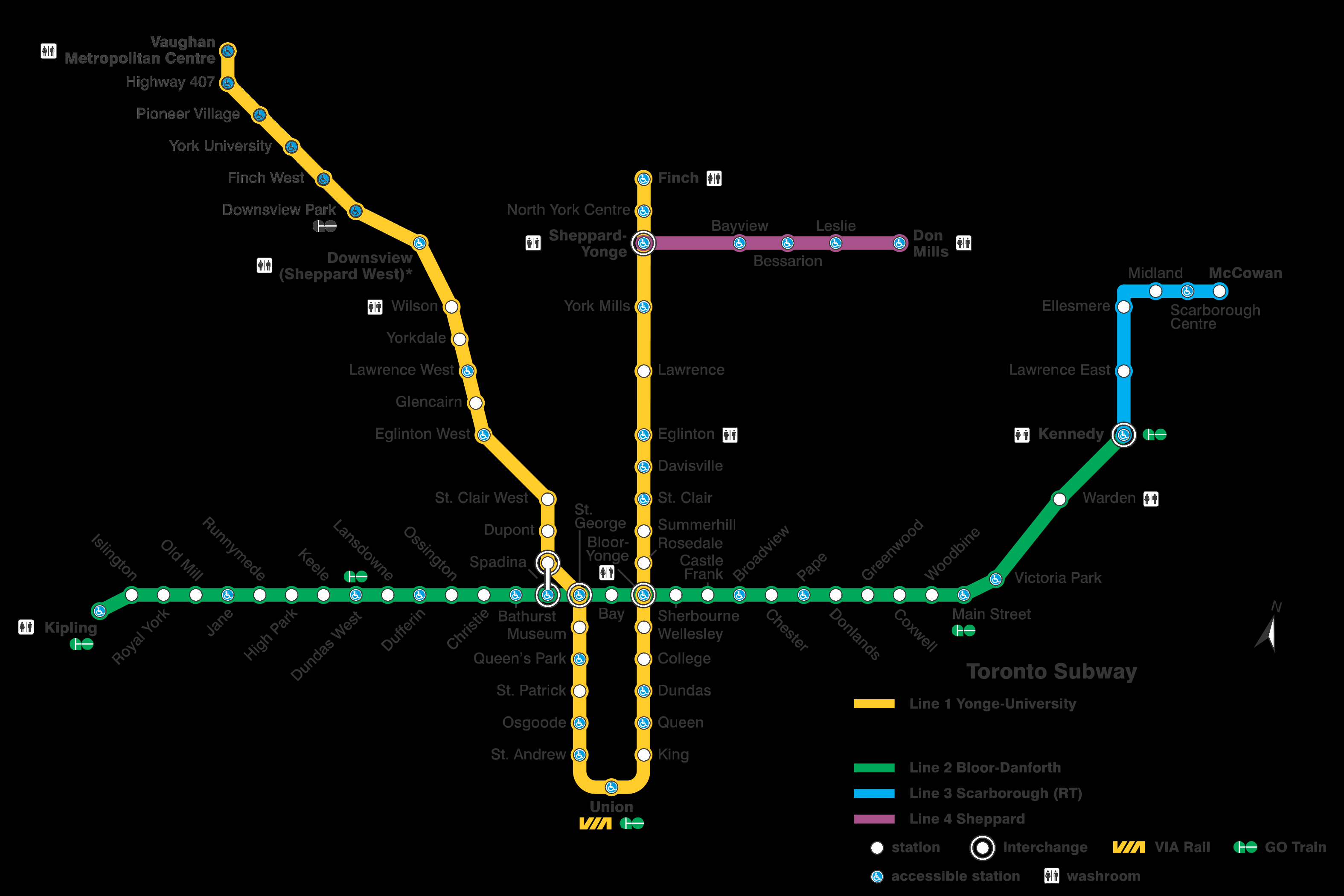Toronto Subway Map.Toronto Subway System Info Interactive Ttc Subway Map