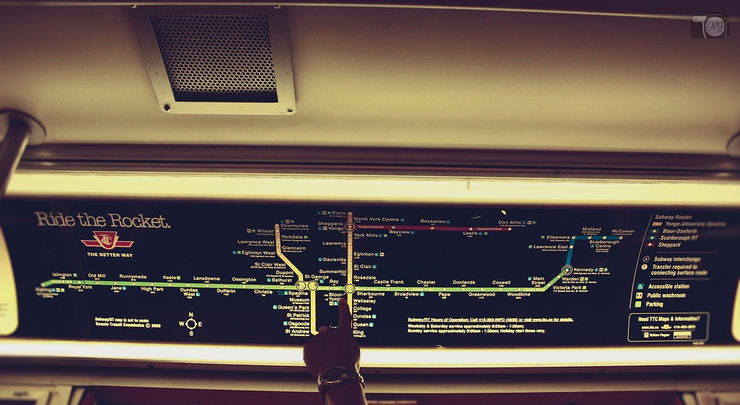 Subway Map inside a Toronto subway car
