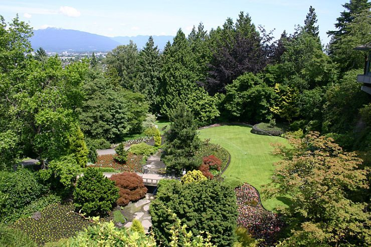 Queen Elizabeth Park Garden with Vancouver and North Shore Mountains in background