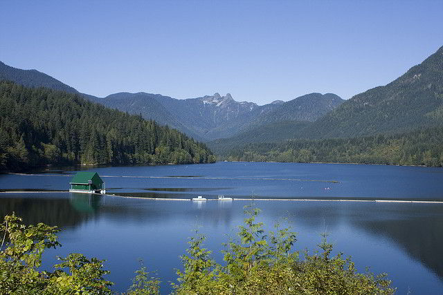 Capilano Lake with the 'Lions' twin peaks in the background