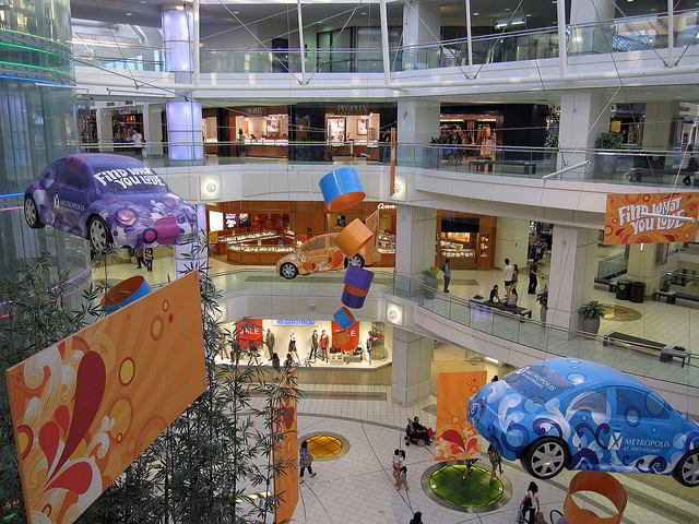 View of the multiple levels inside Metropolis at Metrotown