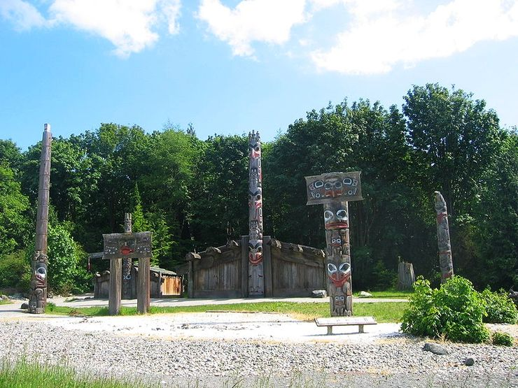 Totem poles outside the Museum of Anthropology