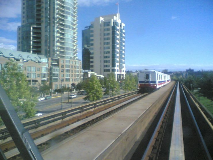 SkyTrain approaching from opposite direction