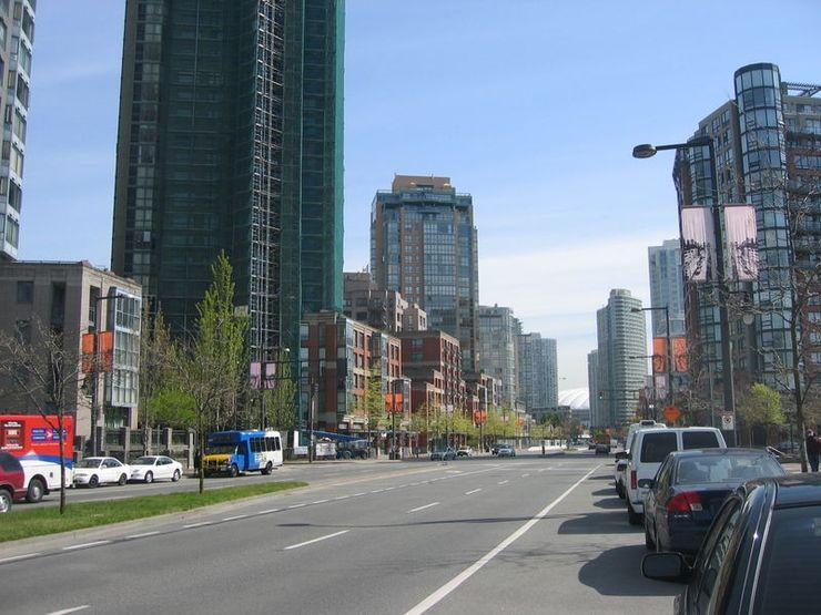 Mix of older and new buildings on Pacific Blvd. in Yaletown
