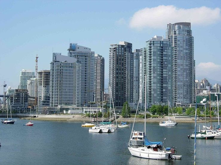 Yaletown High rise Apartments seen from False Creek