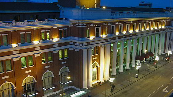 Exterior View of Waterfront Station at Night