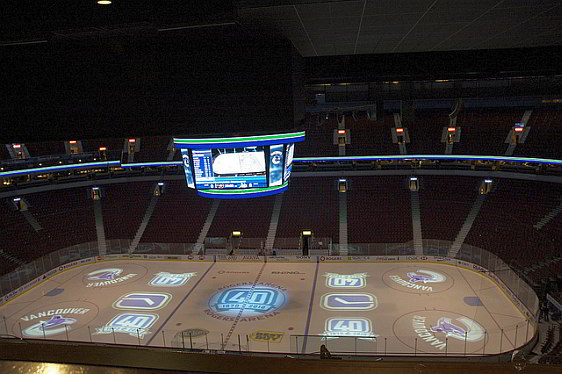 Inside Rogers Arena prior to a Vancouver Canucks playoff game