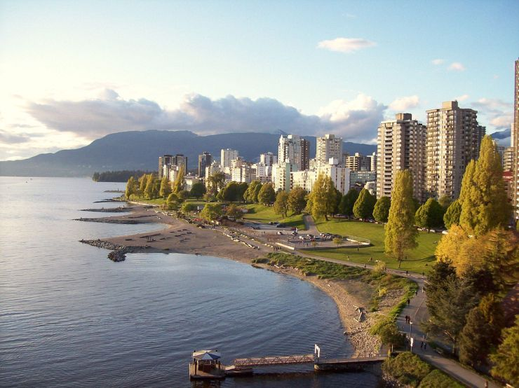 English Bay and Sunset Beach as seen from the Burrard Street Bridge