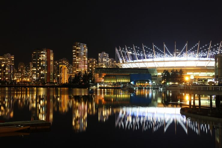 BC Place Stadium is a spectacular at nightime