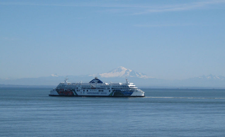 BC Ferry with Mount Baker in the background