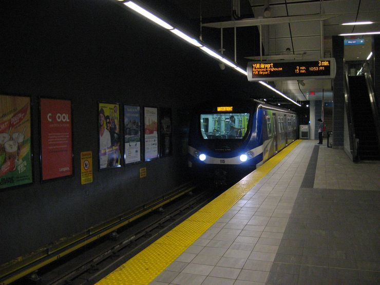 Canada Line Train pulling into Waterfront Station Downtown Vancouver
