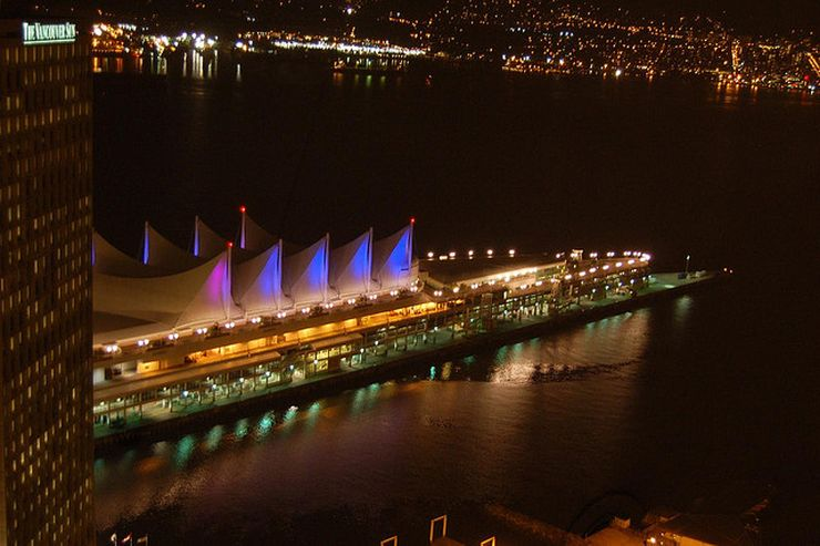 Canada Place with the sails lit at night.