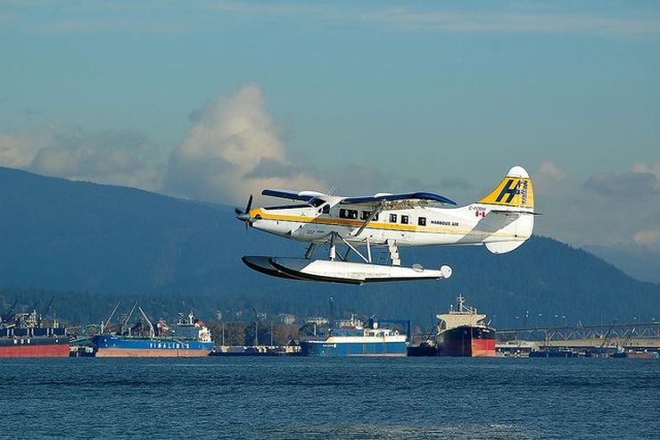 A Harbour Air Seaplane takes to the sky from Coal Harbour