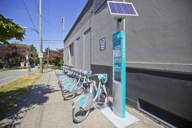 Mobi Bike Station in Vancouver Kitsilano area