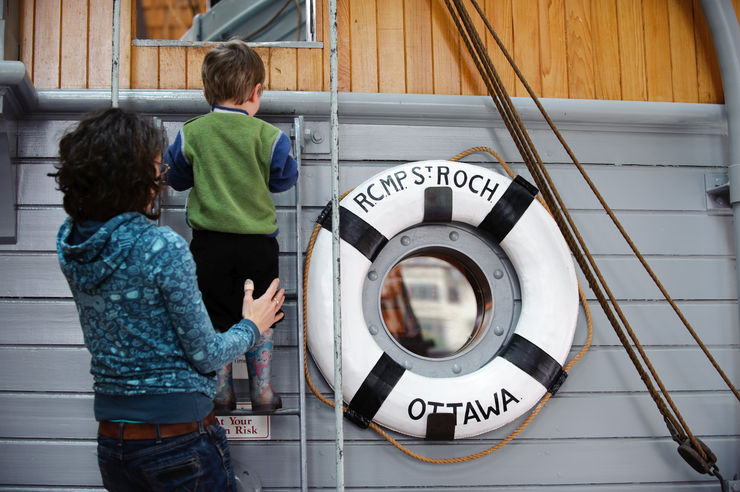 Children love exploring the exhiibits at the Vancouver Maritime Museum
