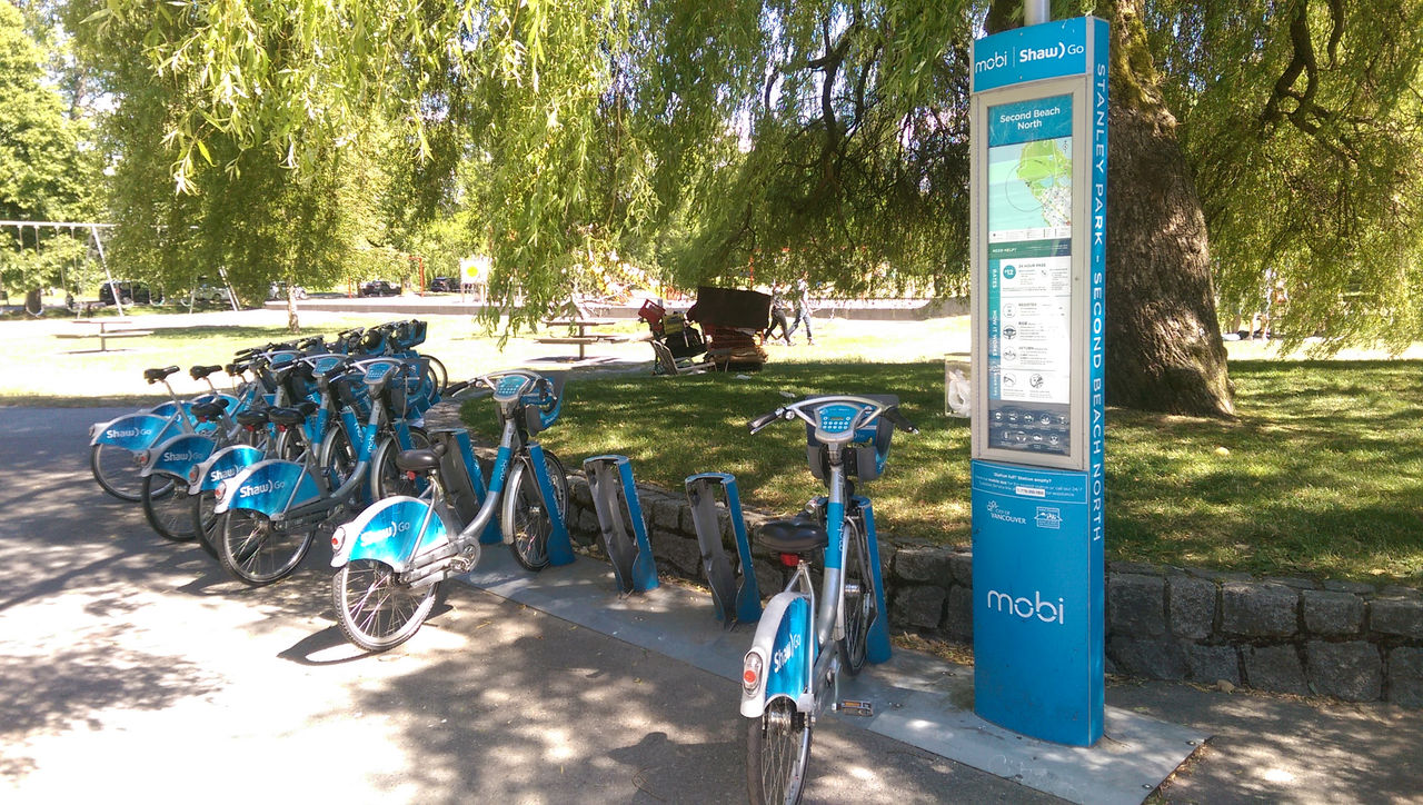 Mobi Bike Share Station at Second Beach in Stanley Park